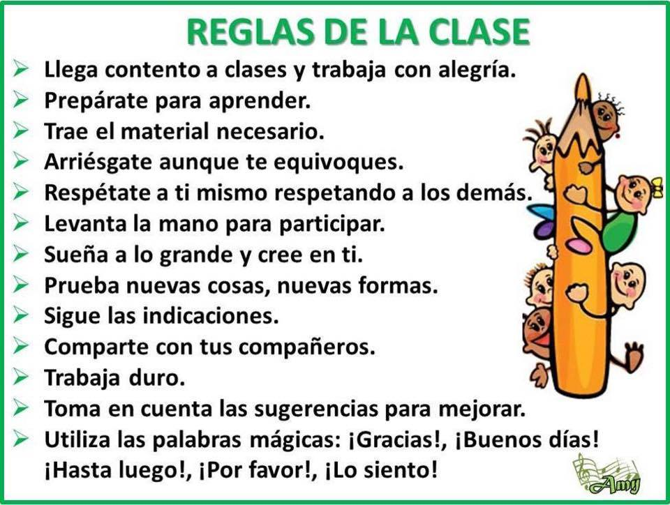 las reglas de clase On 10 reglas del salon de clases