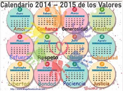 Calendario de los Valores 2014-2015 - Imagenes Educativas