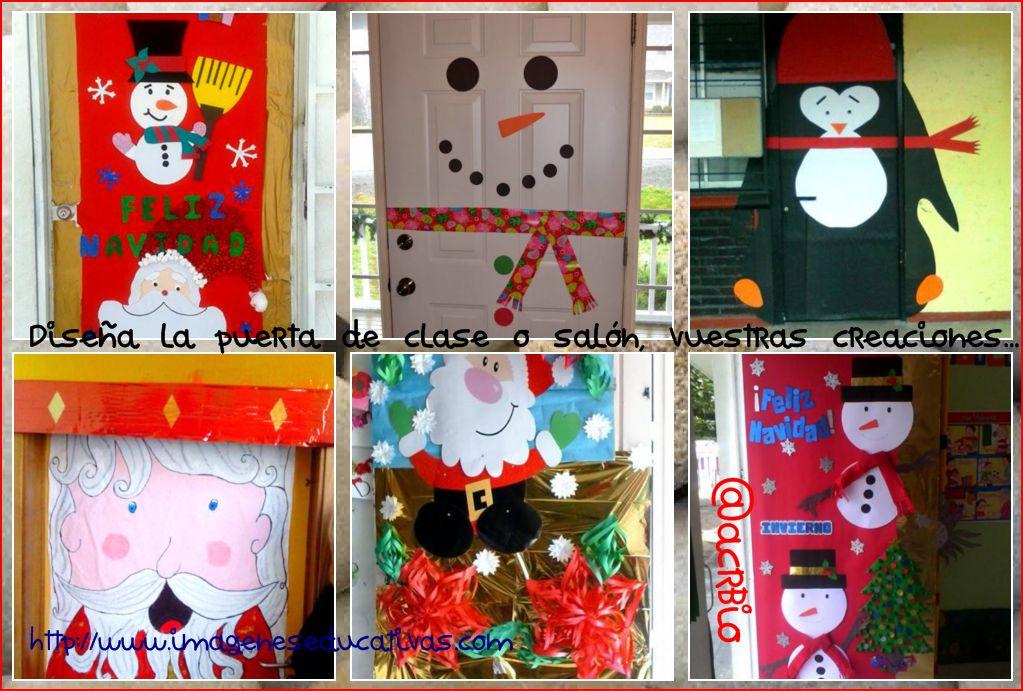 Dise a la puerta de tu clase o sal n vuestras creaciones for Puertas decoradas navidad material reciclable