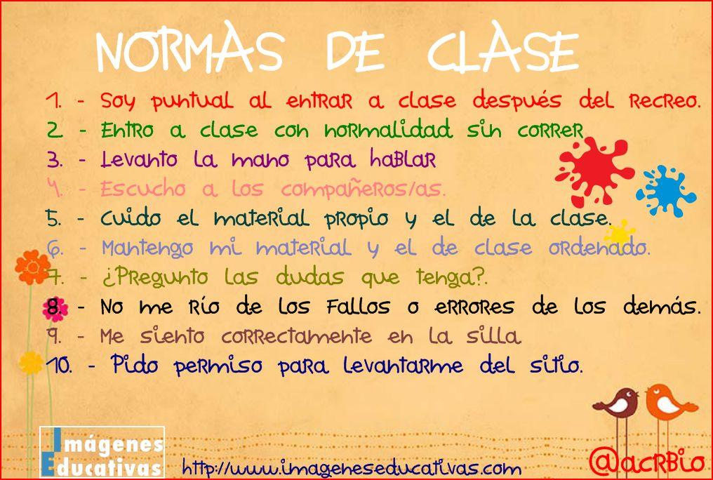Normas de clase imagenes educativas for 10 reglas del salon de clases en ingles