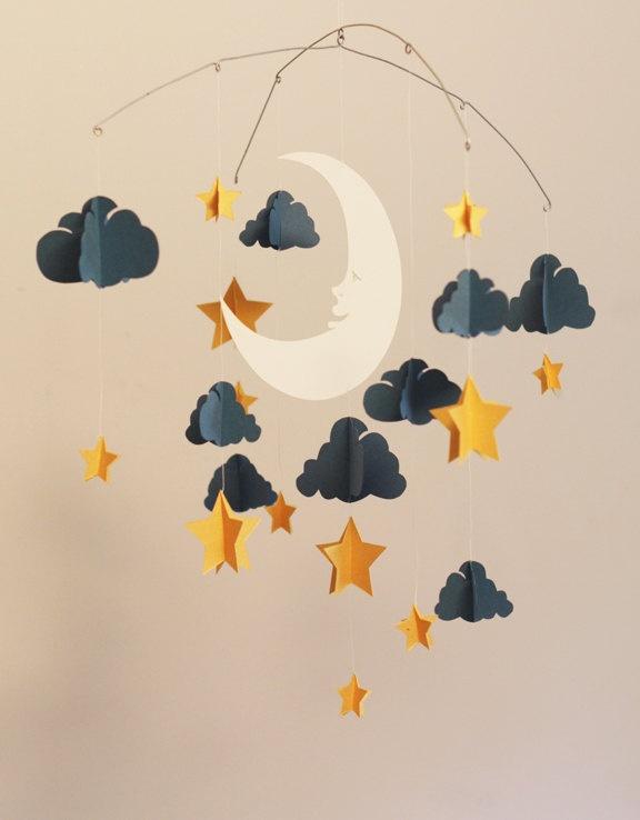 Movil De Noche Luna Y Estrellas De Cartulina Imagenes