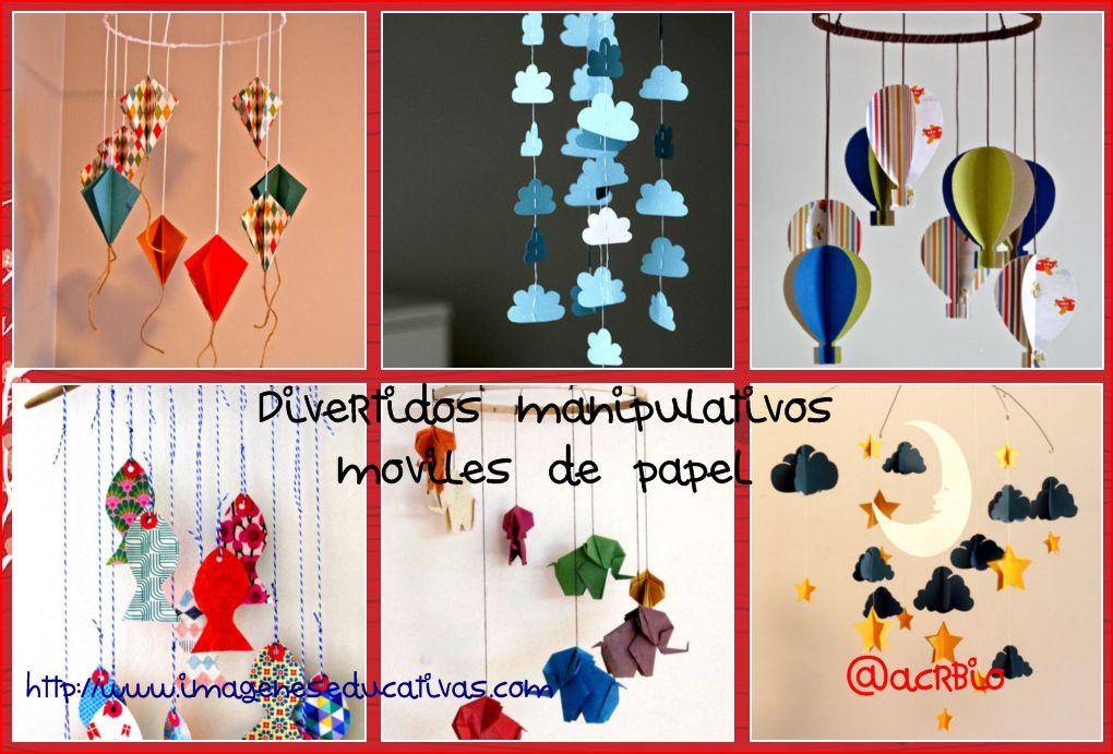 ideas de moviles de papel para decorar los techos de de tu clases
