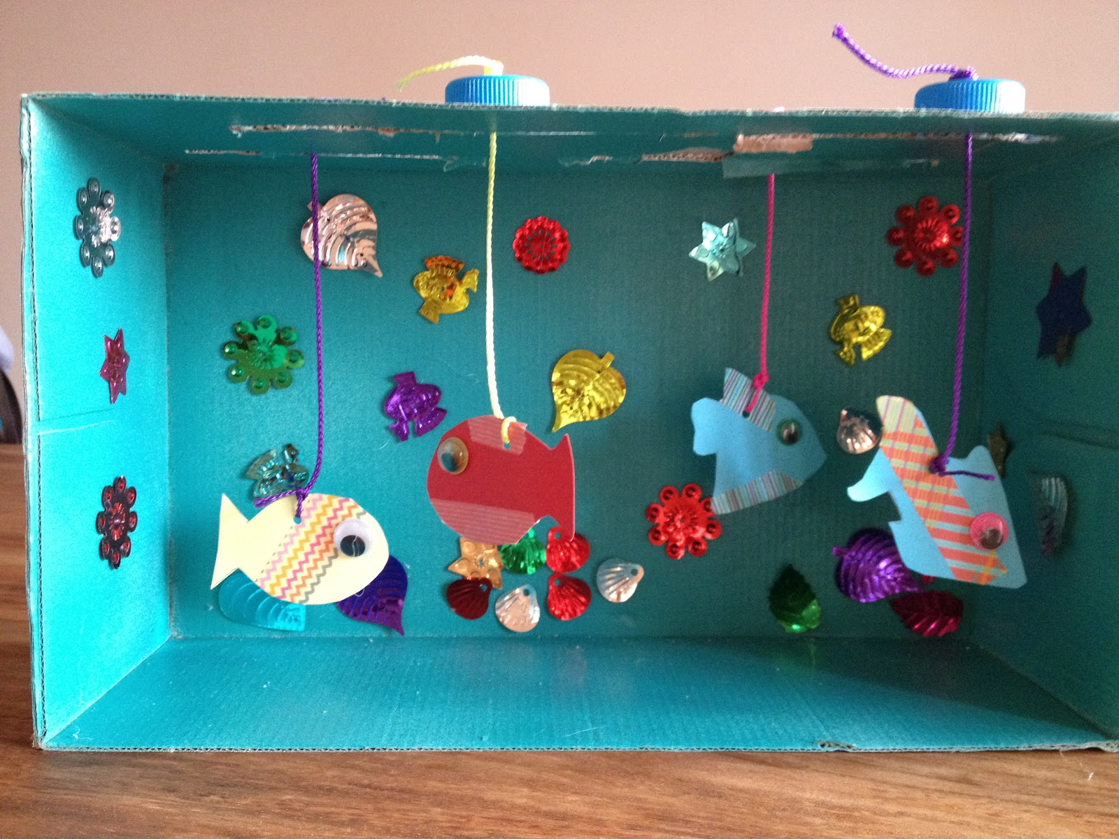 how to make aquarium at home with shoe box