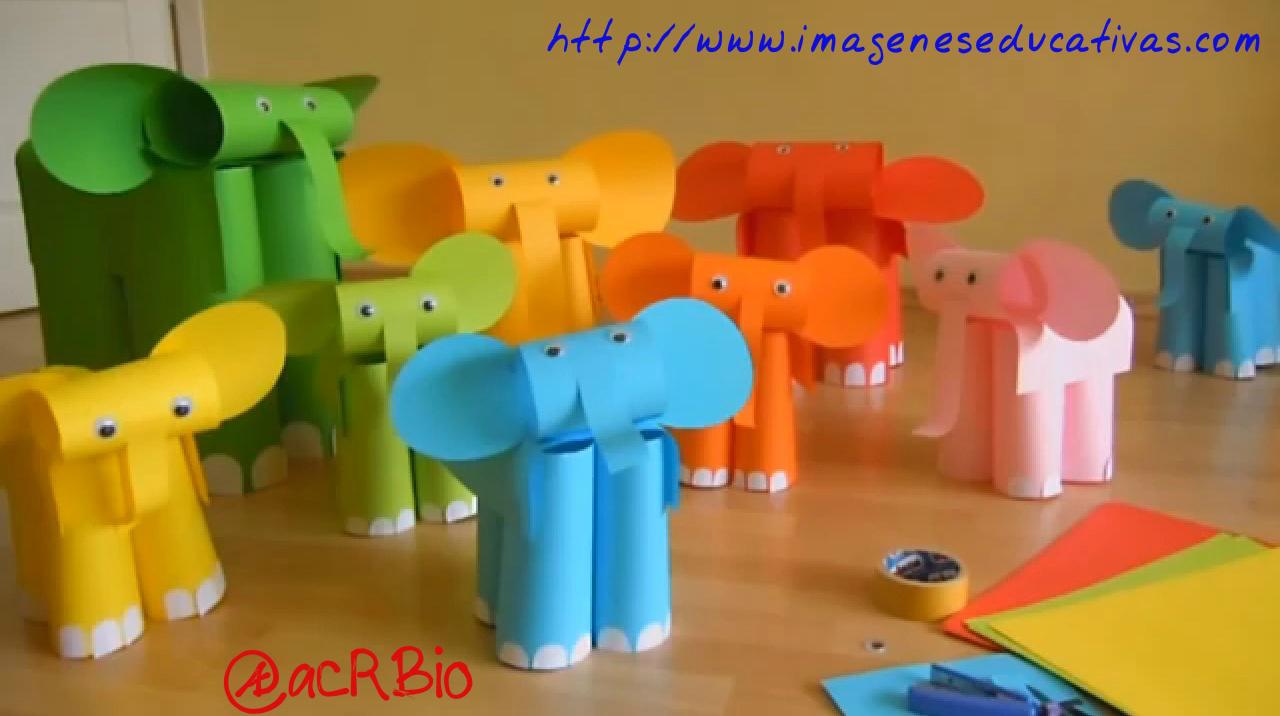 Elefantes con folios de colores imagenes educativas - Como hacer colores ...