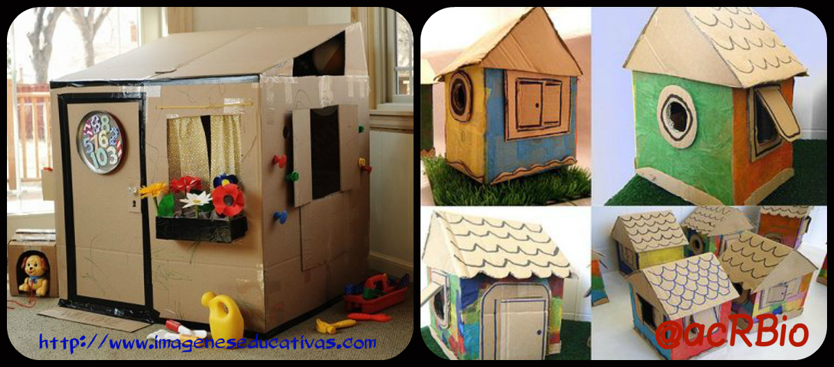 Casas de cart n collage imagenes educativas - Casas para ninos de carton ...