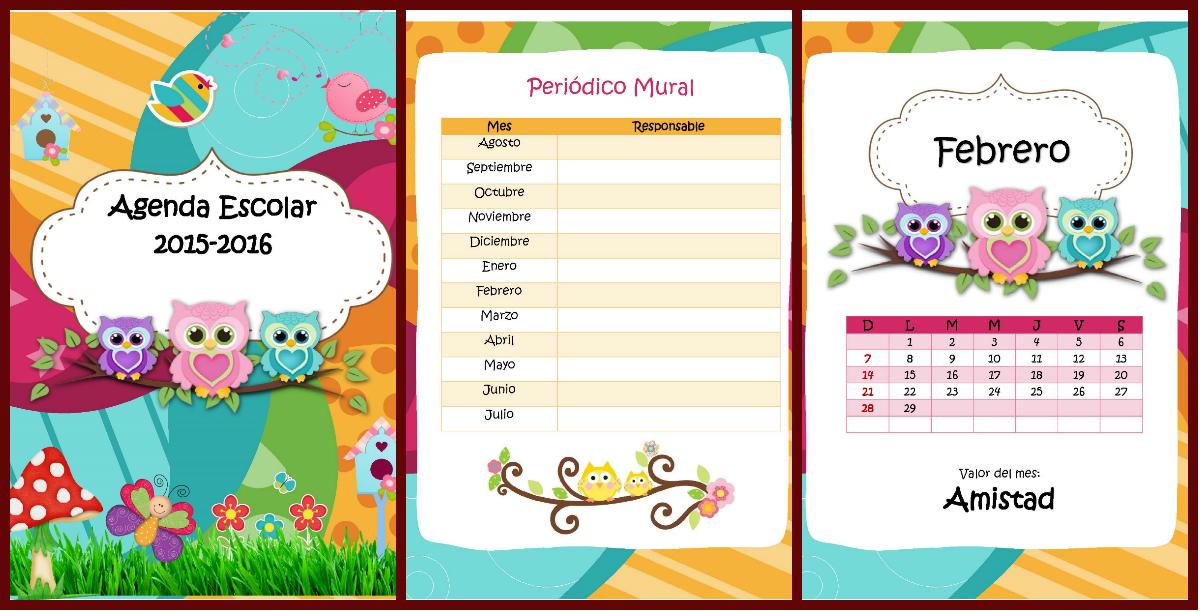 Magnifica agenda curso 2015 2016 motivo buhos imagenes for Cronograma jardin infantil 2015