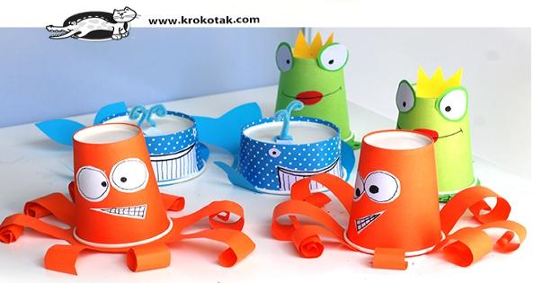 Diy animales con vasos y tarrinas de papel reciclamos los - Decorar vasos plasticos para cumpleanos ...