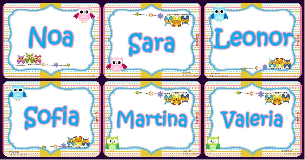 Tarjetas imprimibles y editables nombres de niños y de niñas
