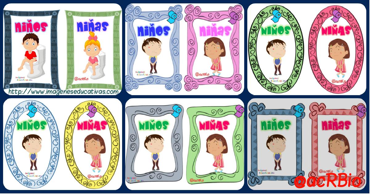 """Baños Infantiles Para Colorear:Permisos para ir al baño """"Recopilatorio de Tarjetas imprimibles"""