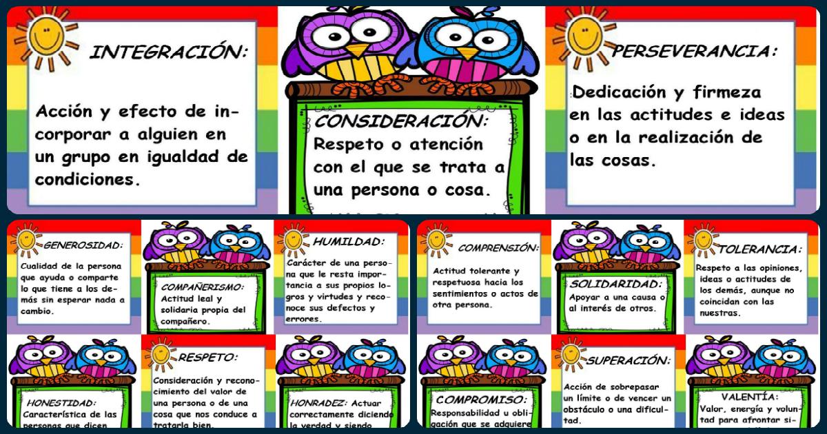 Preciosas tarjetas con los valores para decorar el aula o for Actividades para el salon de clases de primaria