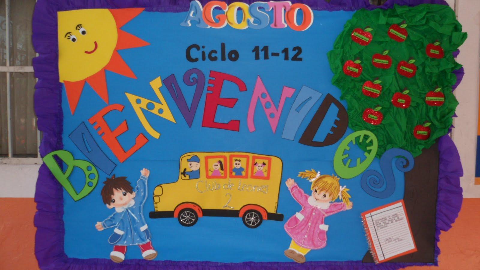 Peri dico mural del mes de agosto mural de bienvenida 1 for Concepto de periodico mural