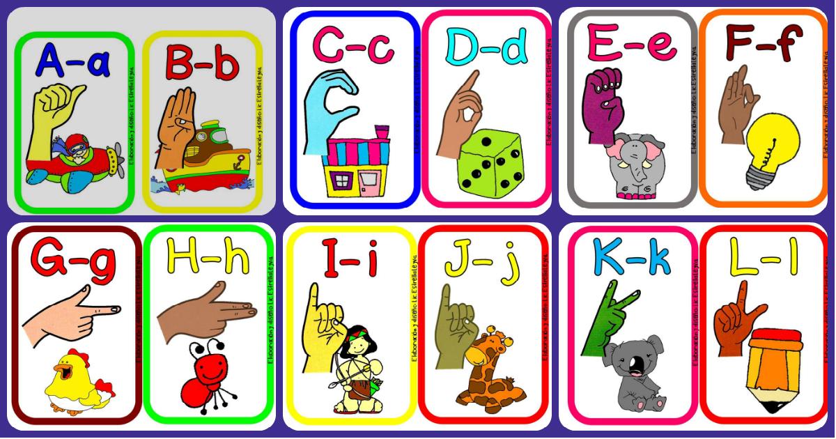 Alfabeto ilustrado en la lengua de signos para niños y ...