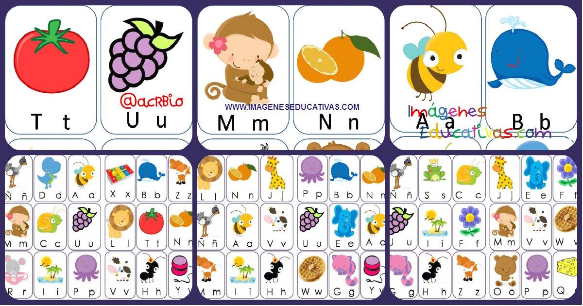 Lotera de Letras animales y frutas Formatos grande y pequeo