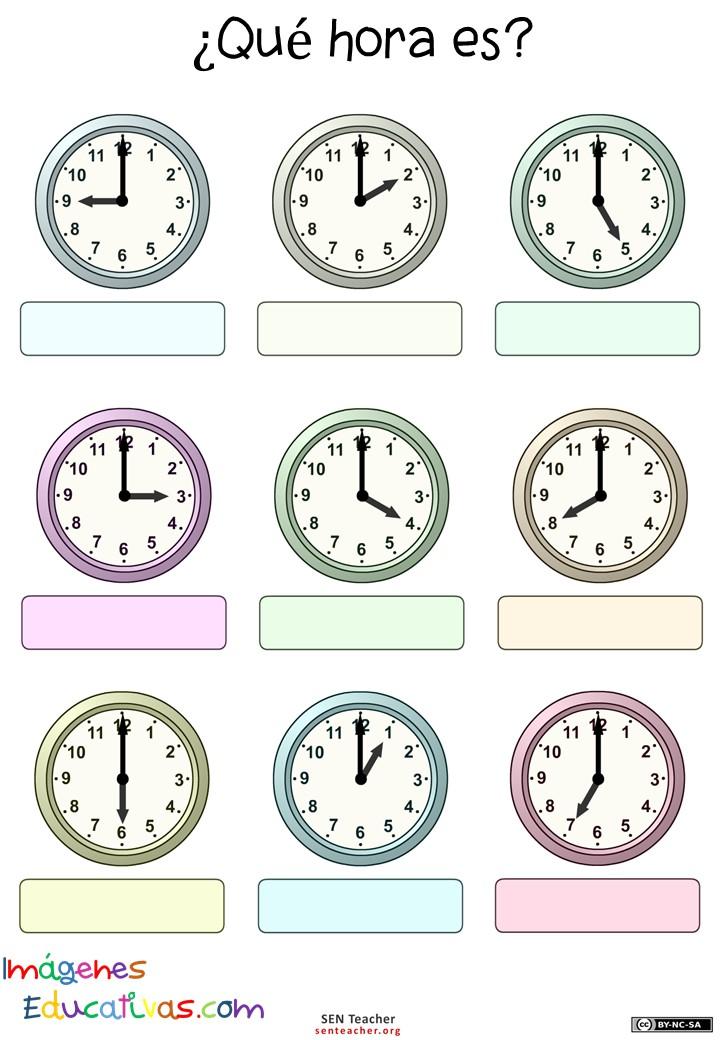 Trabaja Las Horas Y Los Relojes 6 Imagenes Educativas
