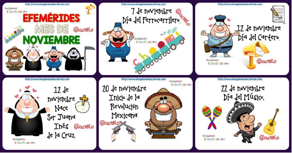 Efemérides mes de noviembre fondo blanco - Imagenes Educativas