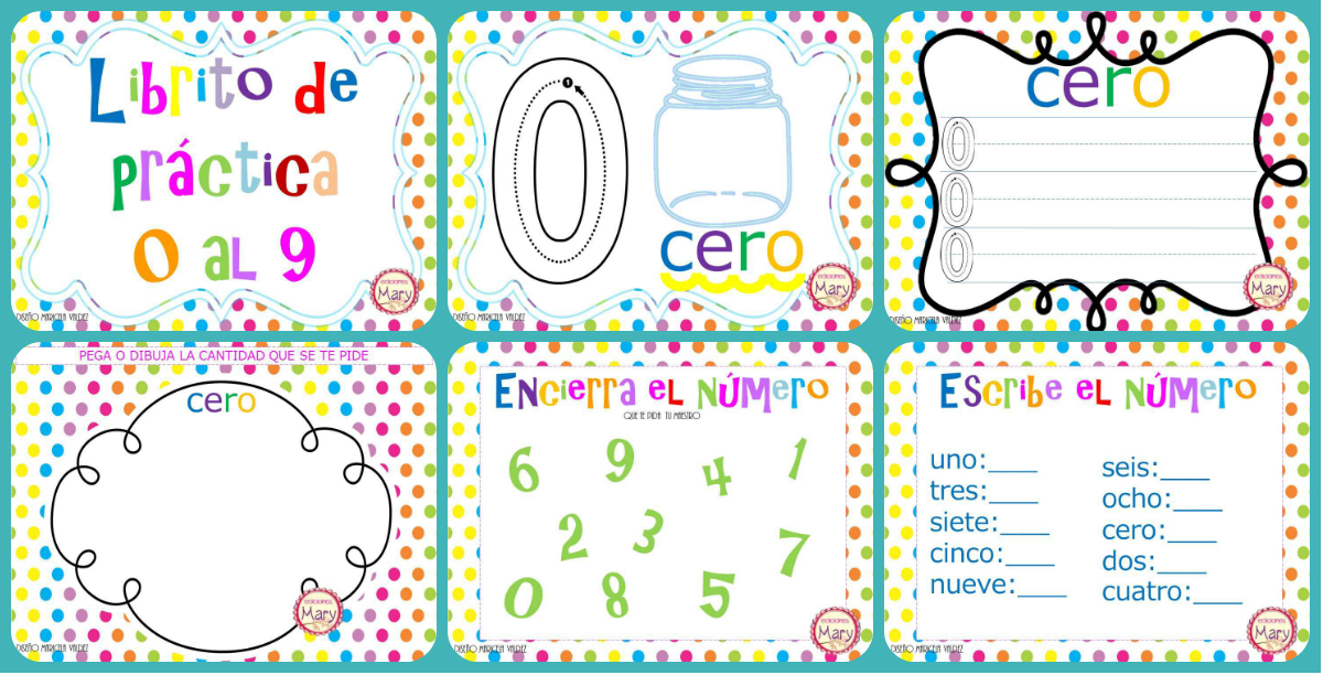 Imagenes Educativas Para Descargar: Librito Para Practicar Los Números Del 1 Al 9, Listo Para
