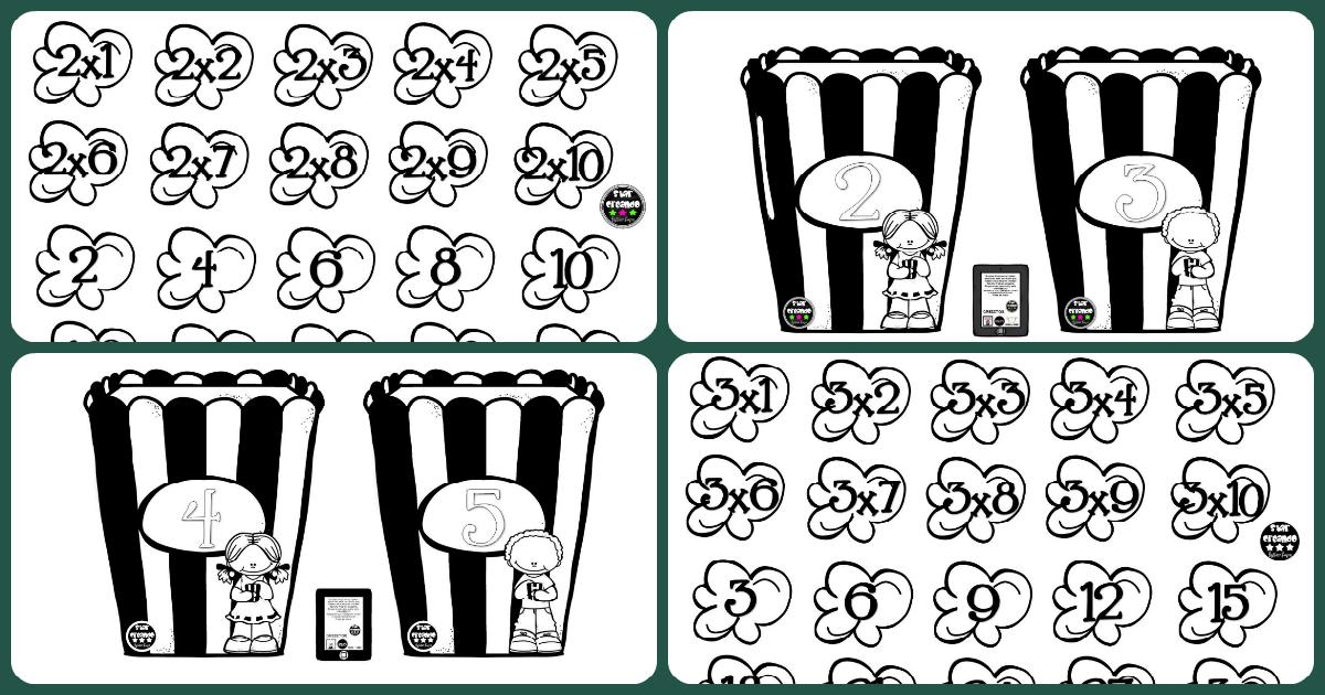 trabajamos las tablas de multiplicar coloreando este juego de palomitas sper divertido
