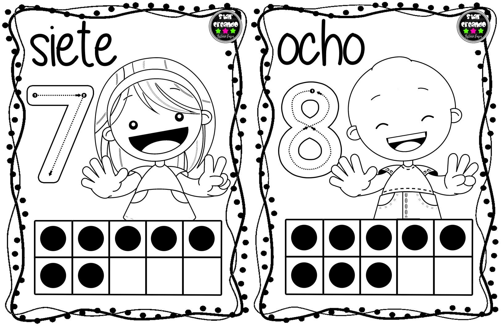 Dibujos Para Colorear Con Numeros Del 1 Al 10: Tarjetas Números Para Colorear (5)