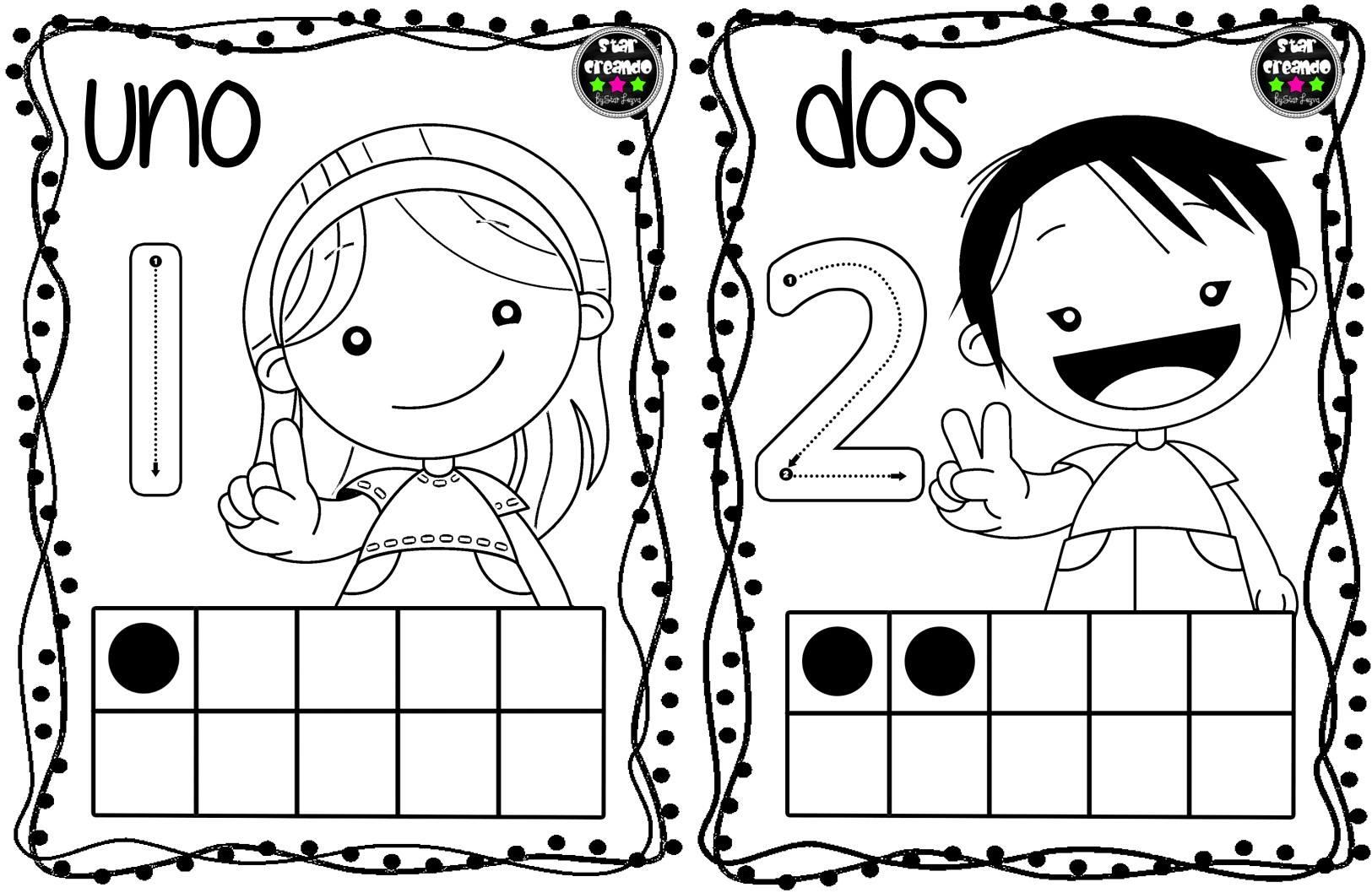 Tarjetas números para colorear (2) - Imagenes Educativas