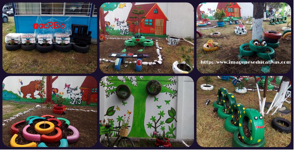 Decoramos nuestro patio con neum ticos y materiales - Ideas para decorar con materiales reciclados ...