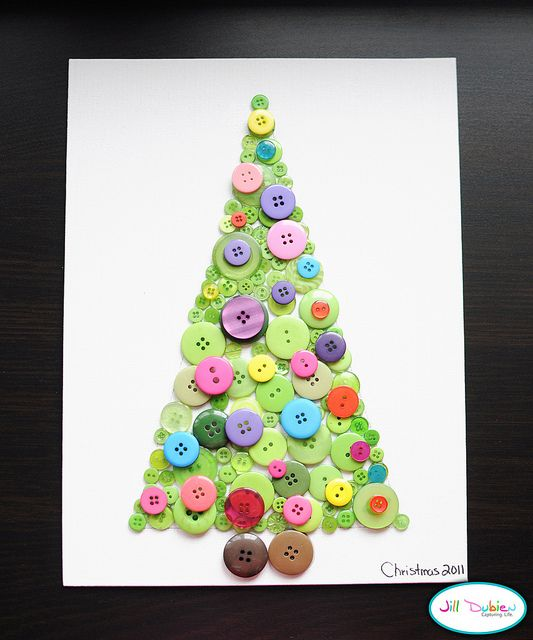 Christmas Button Tree Canvas