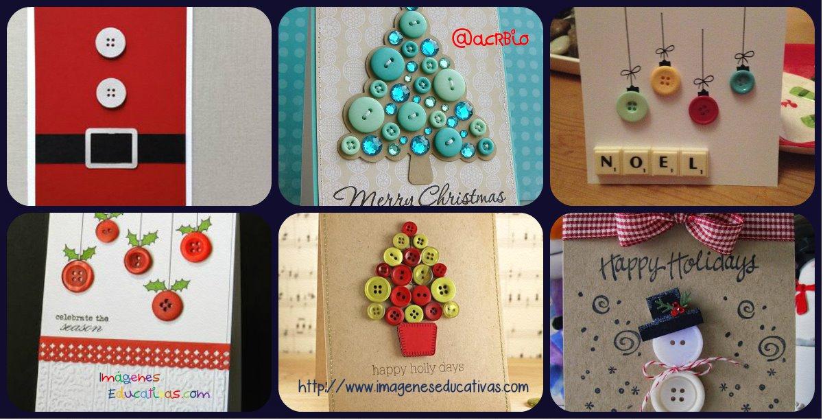 Nuevas tarjetas de navidad con botones para el 2015 - Ideas para hacer postales de navidad con ninos ...