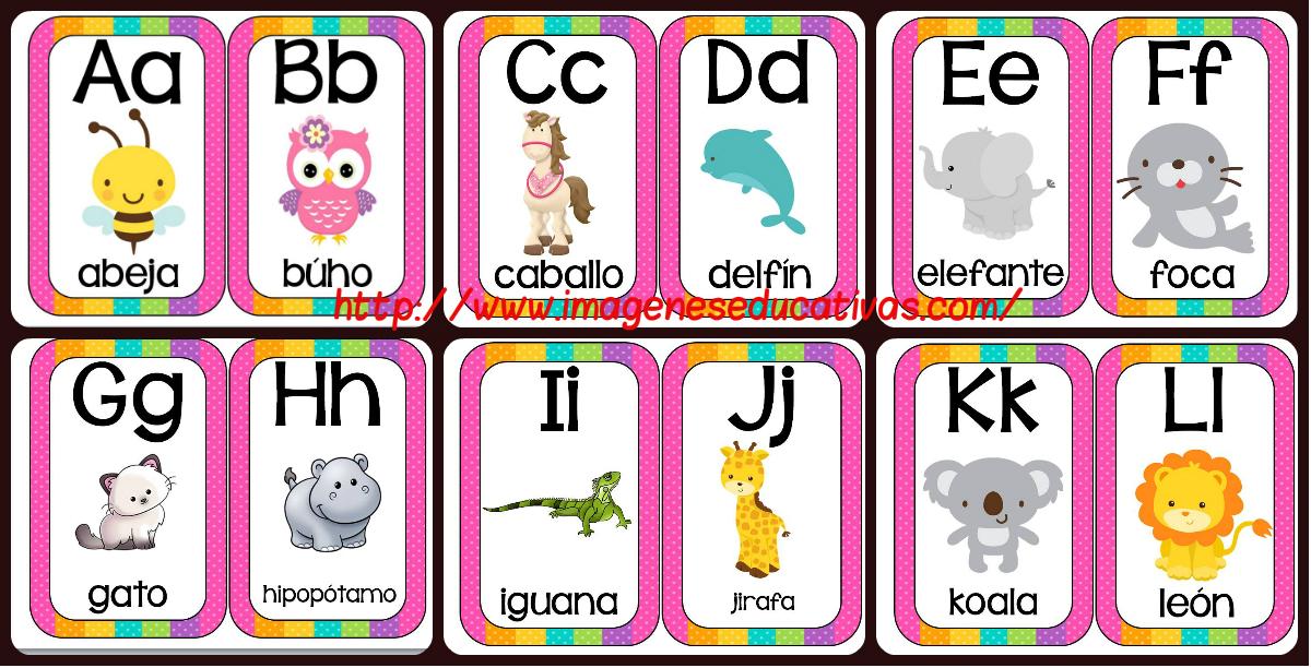 Abecedario animales formato tarjetas imprimibles - Imagenes Educativas