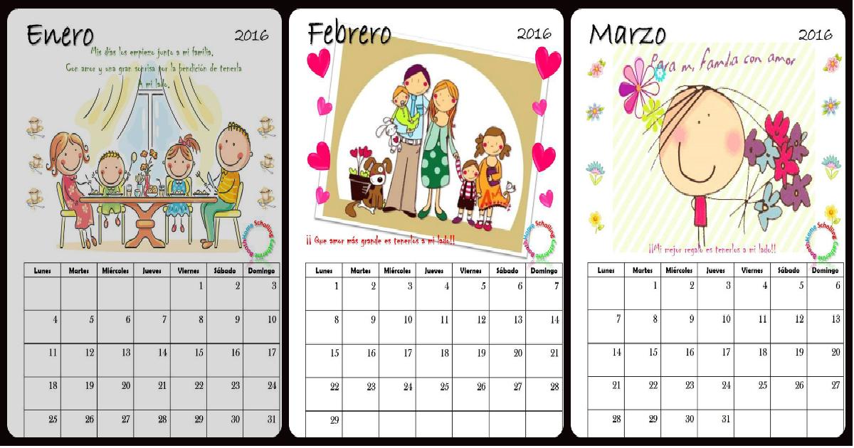 Precioso Calendario 2016 para la escuela - Imagenes Educativas