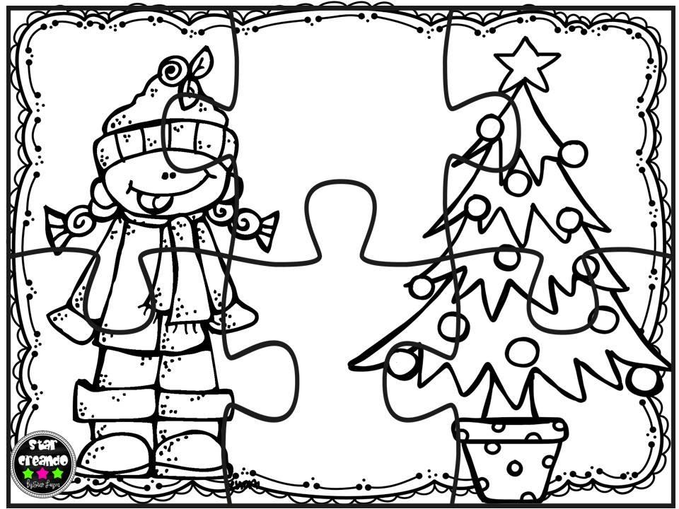 Puzzles navidad para colorear 5 imagenes educativas for Adornos navidenos para colorear y recortar