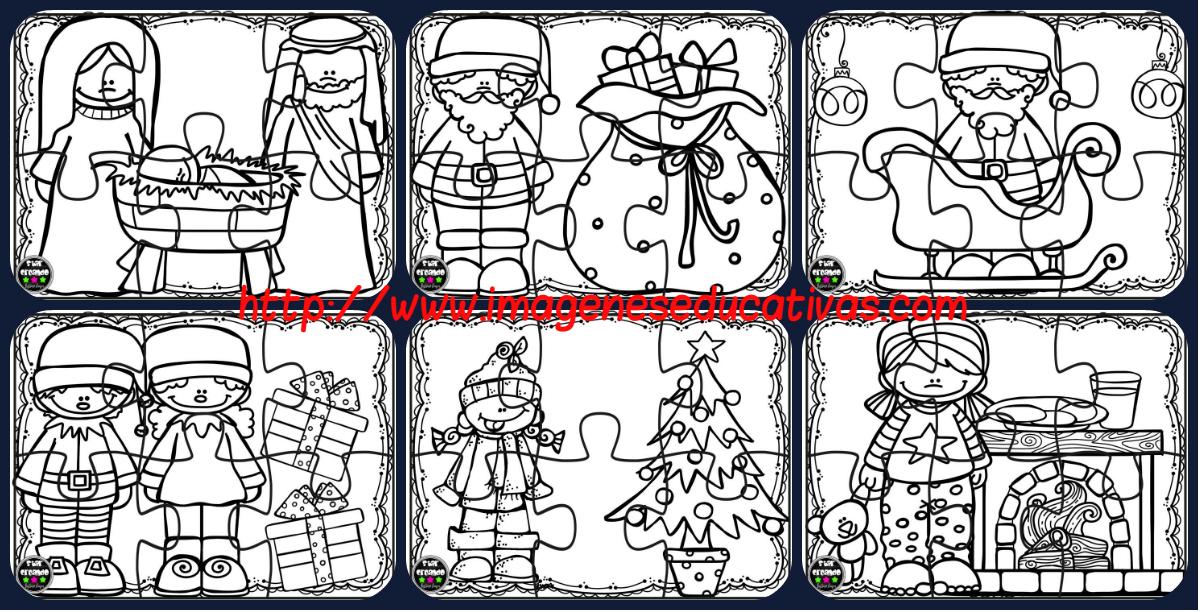 Puzzles de navidad para colorear imprimir recortar for Actividades de navidad para colorear