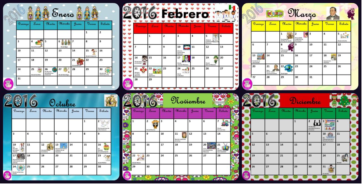 Imagenes Educativas Para Descargar: Calendario 2016 Con Efemérides Incluidas. Listo Para