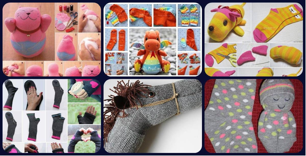 Colecci n de manualidades con calcetines imagenes educativas - Trabajos manuales para adultos ...