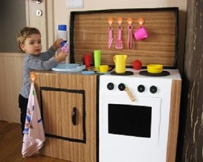 20 nuevas ideas para hacer cocinas de cart n para ni os y - Como hacer una mampara ...