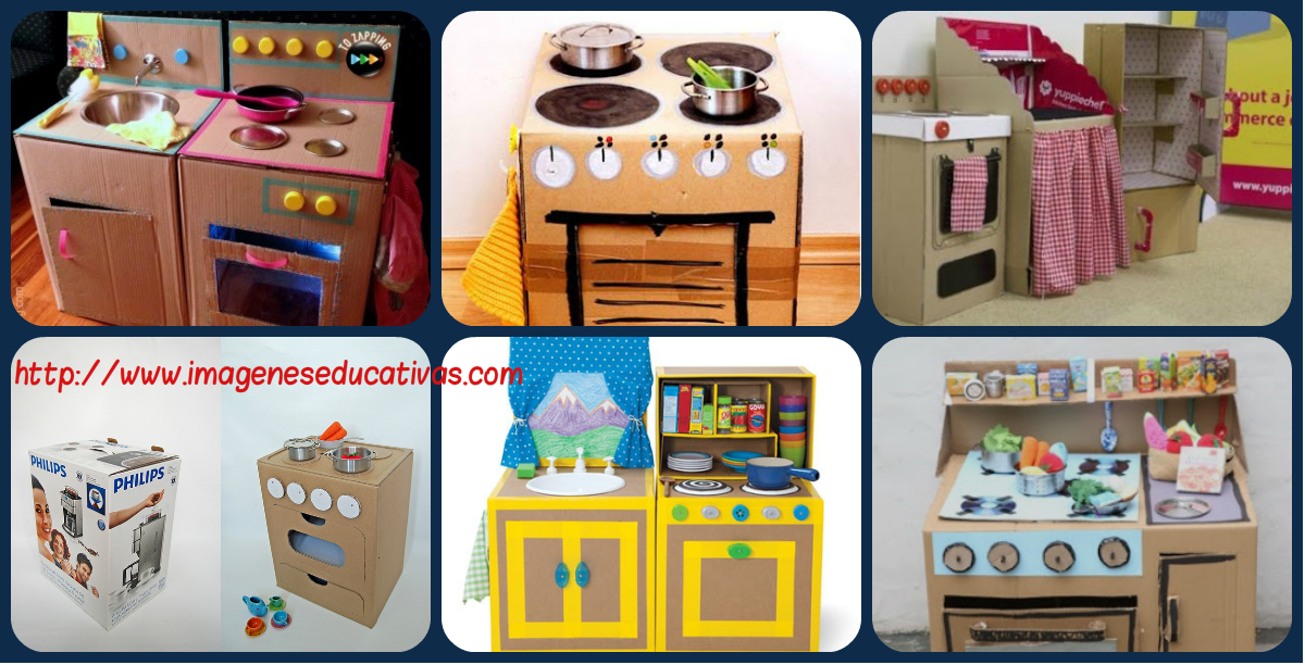 20 nuevas ideas para hacer cocinas de cart n para ni os y for Planos para hacer una cocina de juguete