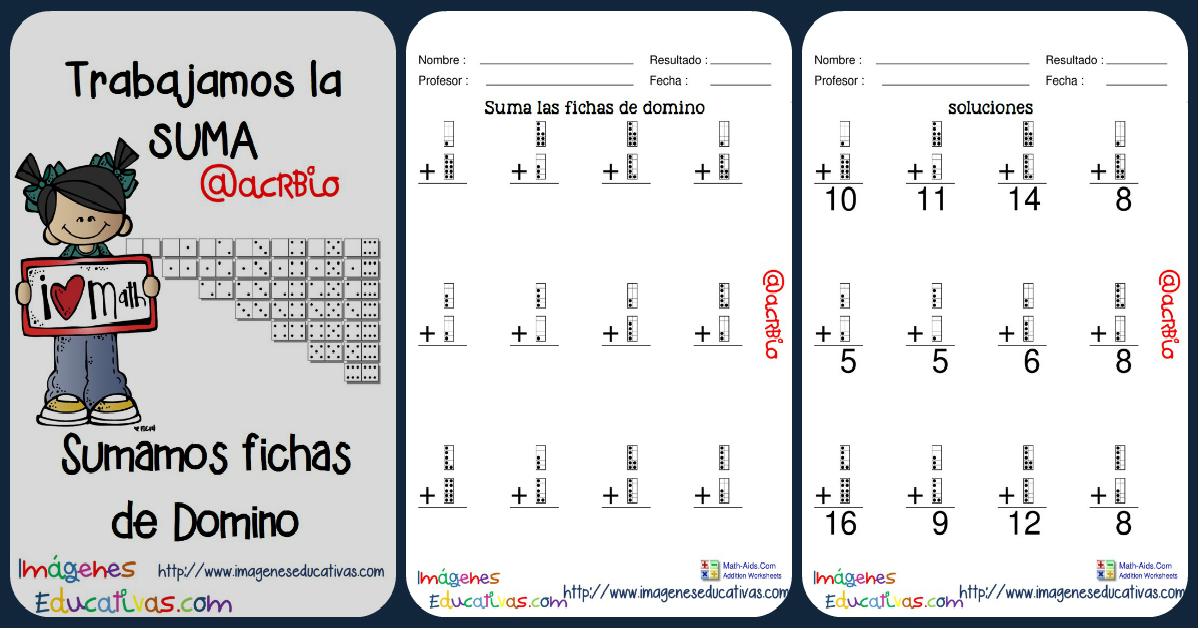 Fichas ejercicios de sumas con fichas de domin for Fichas de domino