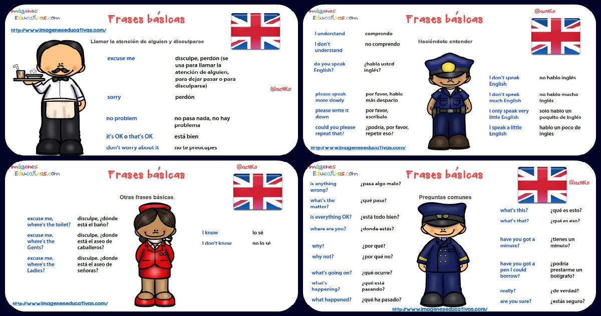 Frases básicas para una conversación en inglés. Formato tarjetas