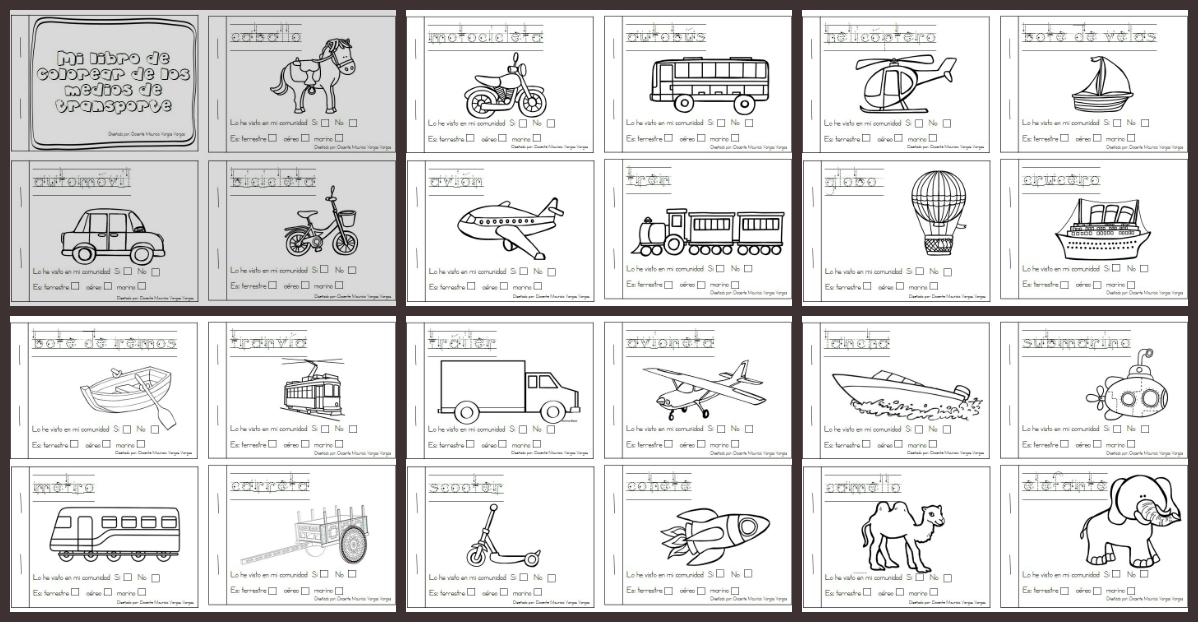 Las Misiones Y Los Niños Dibujos Para Colorear De Niños: Mi Libro De Colorear Medios De Transporte