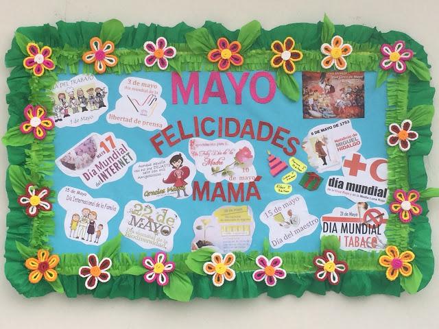 Construyendo el periódico mural mes de MAYO MES de la Primavera y de