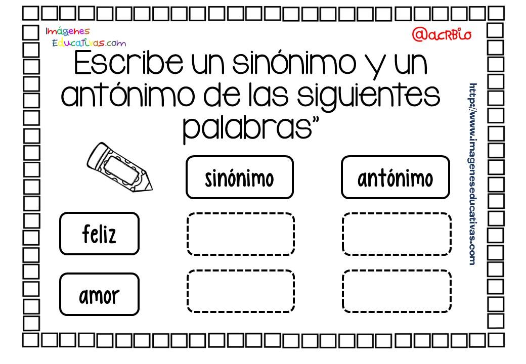 Cuaderno de trabajo SINÓNIMOS vs ANTÓNIMOS (9) - Imagenes ... - photo#40