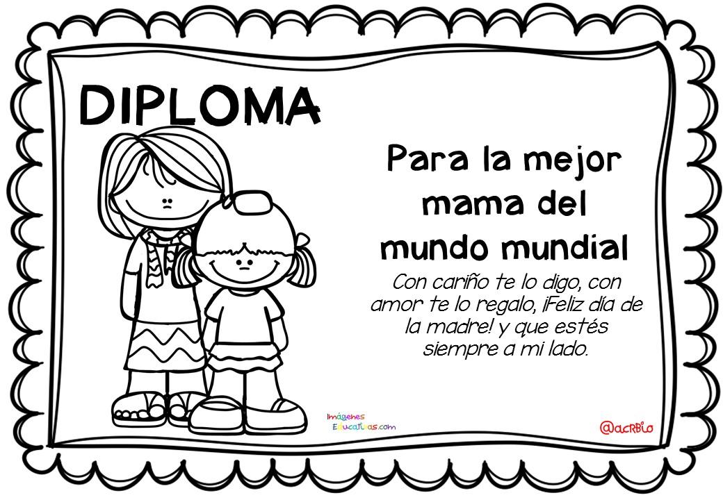 Día Del Abuelo Tiernas Imágenes Para Colorear: Diplomas Para Colorear Del Día De Las Madres. 10 De Mayo