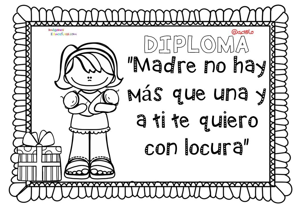 Diplomas Para Colorear Del D A De Las Madres 10 De Mayo