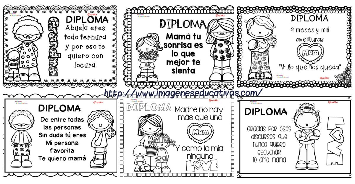 Dibujos Para Colorear Del Dia De Las Madres: Diplomas Originales Para Colorear Del Día De Las Madres