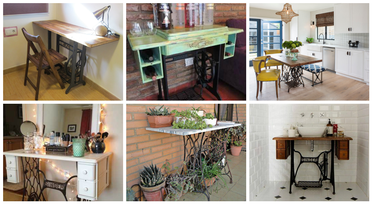 30 ideas para restaurar m quinas de coser antiguas - Ideas para reciclar muebles viejos ...
