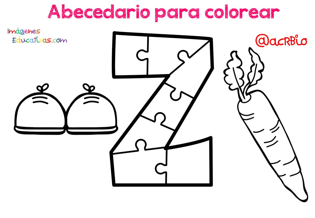 Abecedario para colorear (27) - Imagenes Educativas