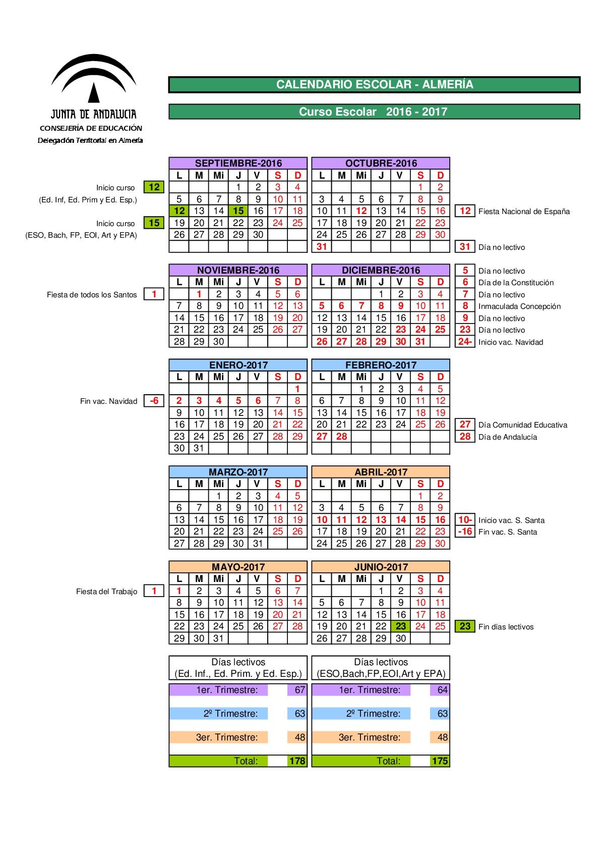 Calendario escolares 2016-2017 Almería - Imagenes Educativas