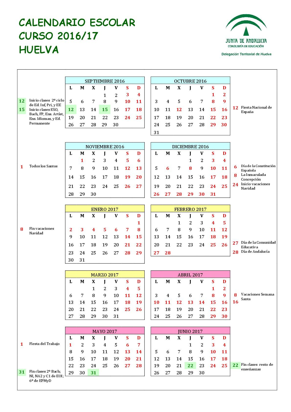 Calendario 2018 Galicia