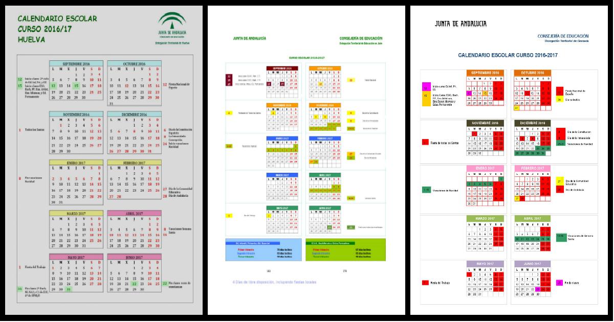 Calendarios escolares 2016-2017 En Andalucía y resto de comunidades ...