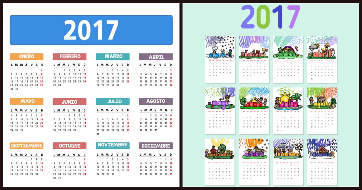 Calendarios y planificadores 2017 - Calendario 2017 para imprimir por meses ...