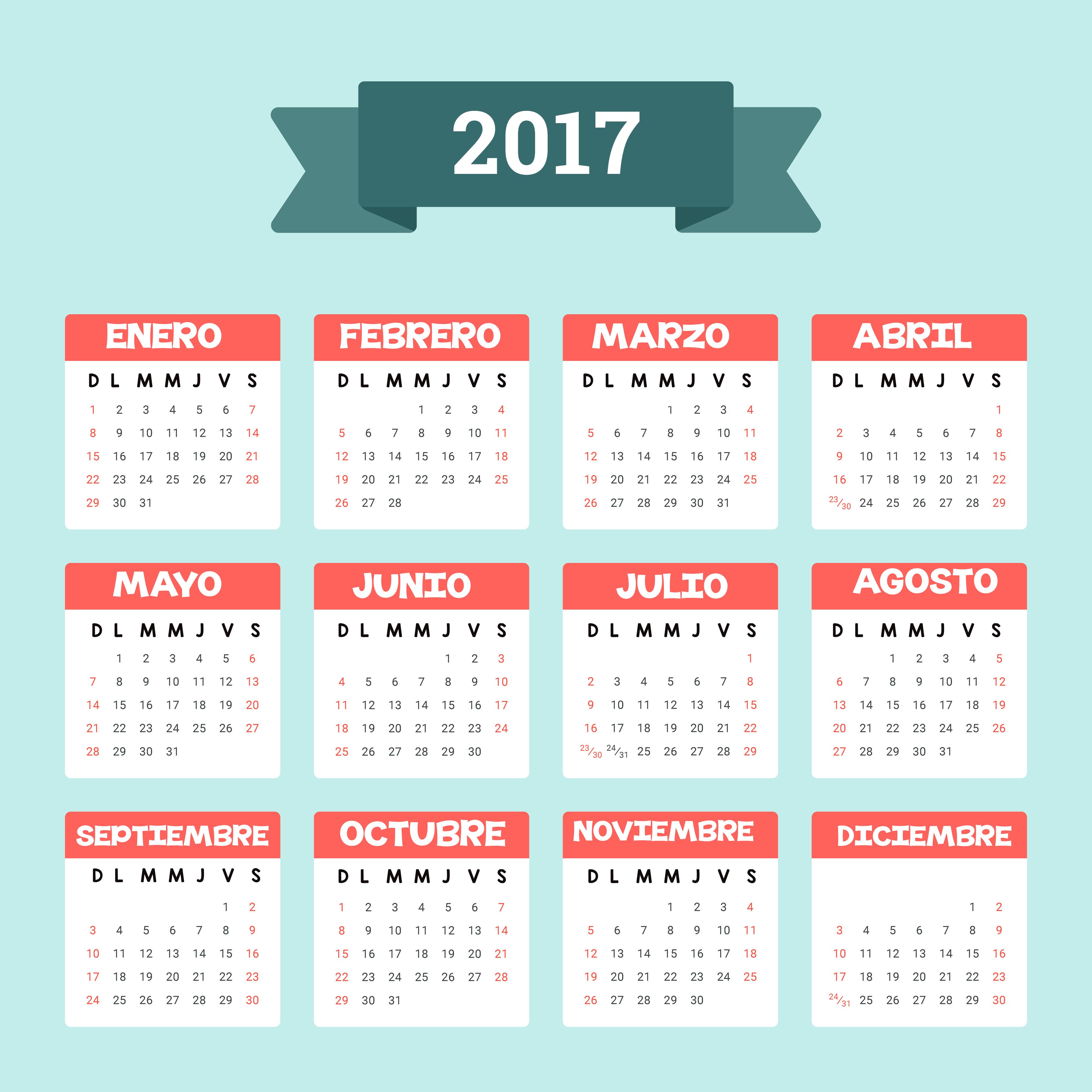 Calendar 2017 - Imagenes Educativas