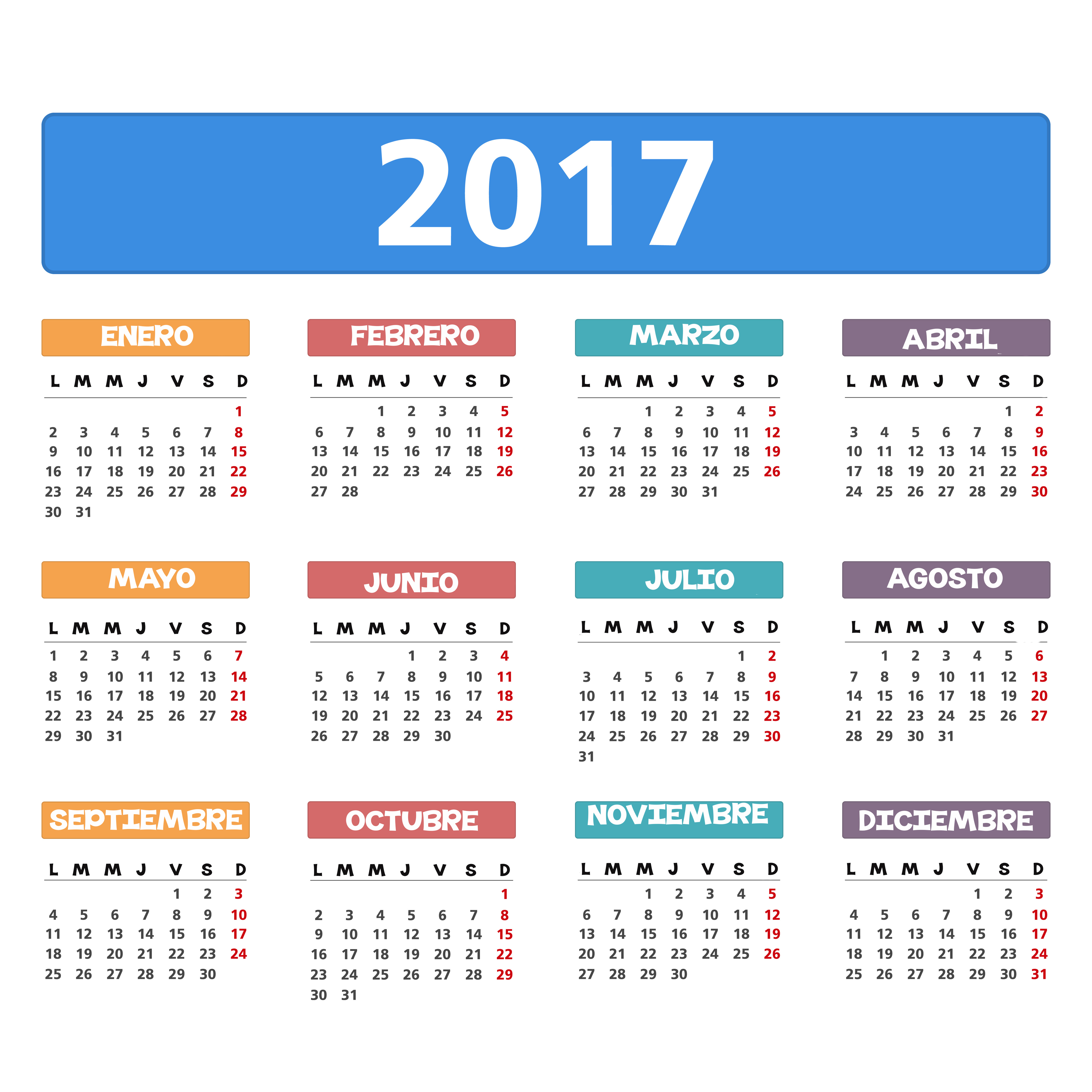 2017 Calendar - Imagenes Educativas